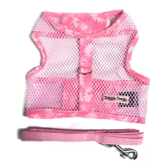 Pink Floral Cool Mesh Dog Harness and Leash