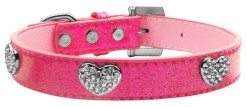 Pink Glitter Dog Collar with Crystal Studded Heart Charms