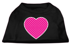 Pink Heart polka dots Screenprint t-shirt sleeveless black