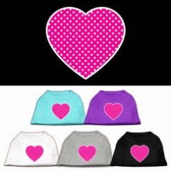Pink Heart polka dots Screenprint t-shirt sleeveless dog