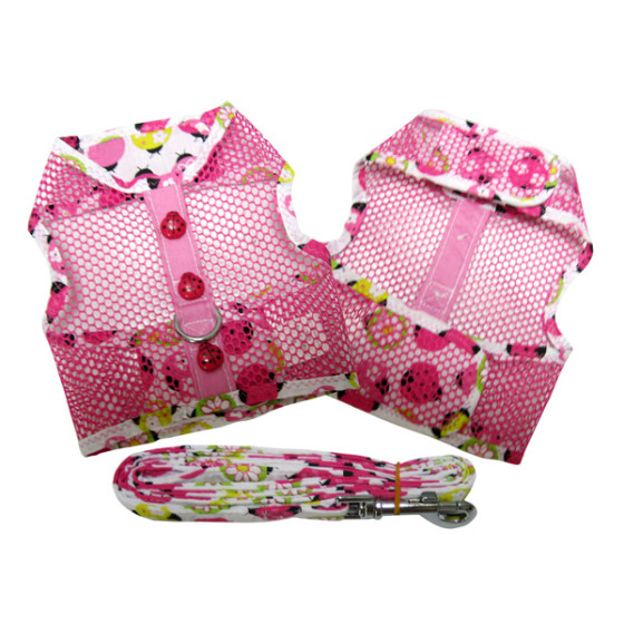 Pink Lady Bug Cool Mesh Dog Harness and Leash