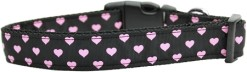 Pink Neon Hearts Adjustable Dog Collar