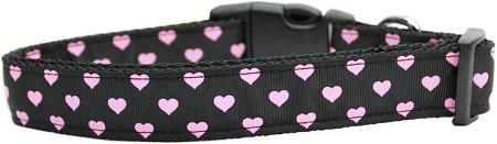 Pink Neon Hearts Adjustable Dog Collar