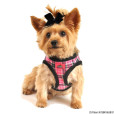 Pink Plaid Dog Harness with Fur