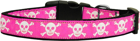 Pink Skull and Crossbones Adjustable Dog Collar