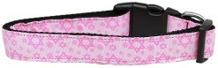 Pink Star of David adjustable dog collar