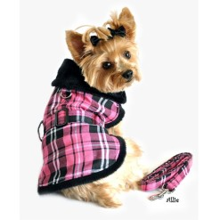 Pink and Black Plaid Faux Fur Dog Coat with Belt and Leash