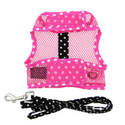 Pink and Black Sunglasses Cool Mesh Dog Harness and Leash back