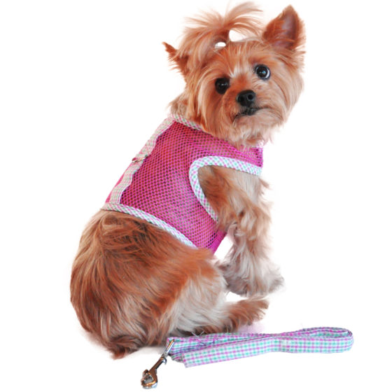 Pink and Green Plaid Seersucker Cool Mesh Dog Harness and Leash