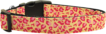 Pink and Tan Leopard Print adjustable dog collar