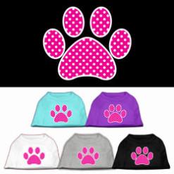 Pink dog paw polka dots Screenprint t-shirt sleeveless