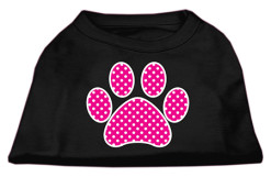 Pink dog paw polka dots Screenprint t-shirt sleeveless black