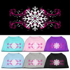 Pink swirl and snowflake Screenprint t-shirt sleeveless dog
