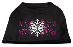 Pink swirl and snowflake Screenprint t-shirt sleeveless dog black