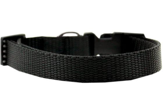 Plain Black Nylon Dog Collar