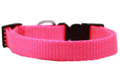 Plain Hot Pink Nylon Dog Collar