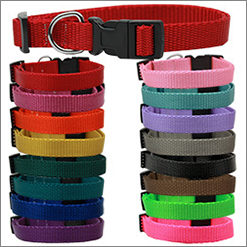 Plain Ribbon Adjustable Nylon Dog Collars