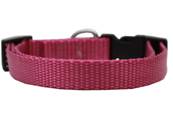 Plain Rose Nylon Dog Collar