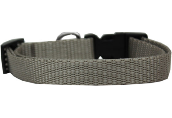 Plain Silver Nylon Dog Collar
