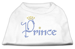 Prince crown rhinestones dog t-shirt white