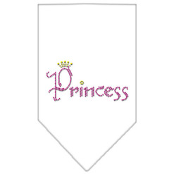 Princess and Crown rhinestone dog bandana white