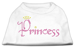 Princess crown rhinestones dog t-shirt white