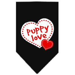 Puppy Love and Dotted Hearts bandana black
