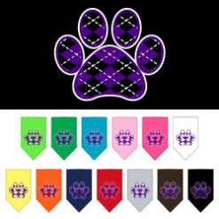 Purple Argyle dog paw bandana