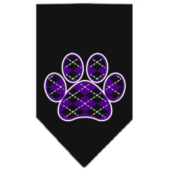 Purple Argyle dog paw bandana black