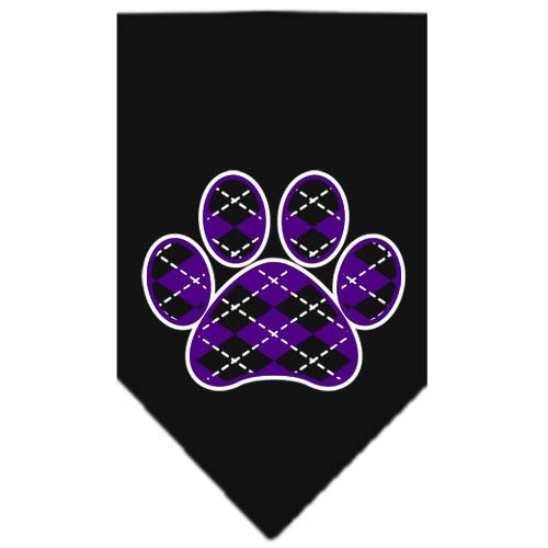 Purple Argyle dog paw bandana black