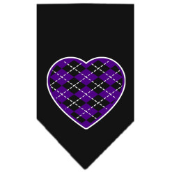Purple Argyle heart dog bandana black