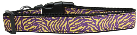 Purple and Yellow Tiger Stripes animal print adjustable dog collar