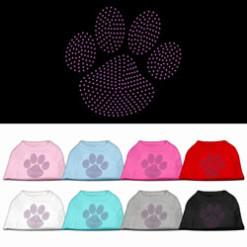 Purple dog paw rhinestones dog t-shirt colors