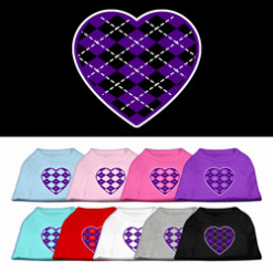 Purple hearts argyle colors t-shirt novelty