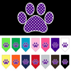 Purple paw polka dot dog bandana