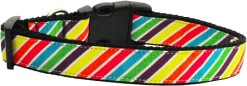 Rainbow Diagonal bright stripes adjustable dog collar