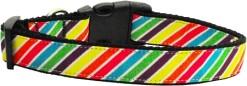 Rainbow Diagonal bright stripes adjustable dog collar