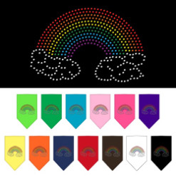 Rainbow and clouds rhinestone dog bandana