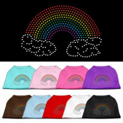 Rainbow and clouds rhinestones dog t-shirt colors