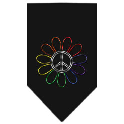 Rainbow flower peace sign rhinestone dog bandana