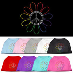 Rainbow flower peace sign rhinestones dog t-shirt colors