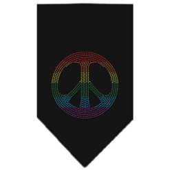 Rainbow peace sign rhinestone dog bandana black