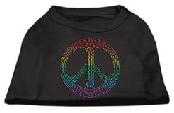 Rainbow peace sign rhinestones dog t-shirt black