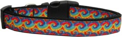Rainbow tie dye swirls adjustable dog collar