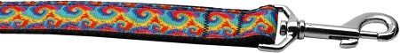 Rainbow tie dye swirls dog leash