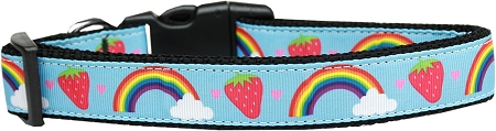 Rainbows and Strawberries Adjustable Dog Collar Blue