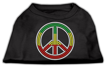 Rasta colors Peace sign rhinestones dog t-shirt black