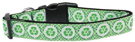 Recycling symbol and dog paw environment friendly adjustable dog collar