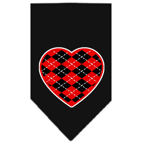Red Argyle heart dog bandana black