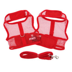 Red Cool Mesh Dog Harness and Leash product
